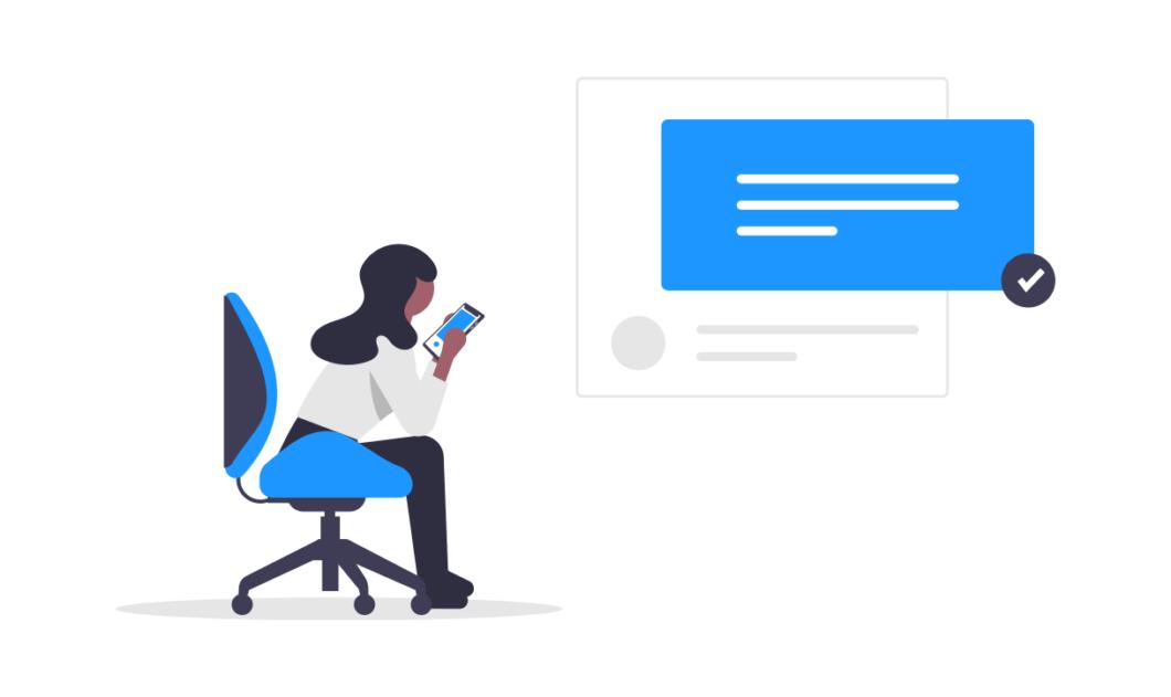 Illustration d'une femme assise sur une chaise avec une télécommande en main devant un écran
